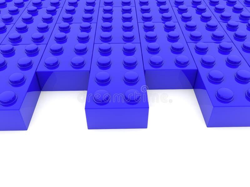 Rzędy zabawkarskie cegły w błękicie z pustymi przestrzeniami ilustracji