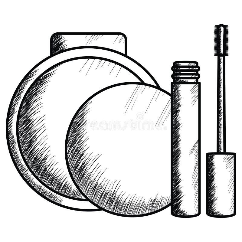 Rzęsa i rumieniec uzupełniamy rysunek ilustracja wektor