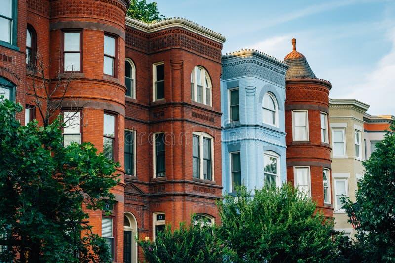 Rz?d?w domy przy Seward kwadratem w Wzg?rze Kapitolu, Waszyngton, DC zdjęcie stock