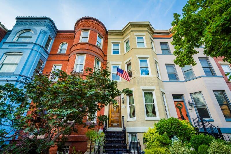 Rz?d?w domy przy Seward kwadratem w Wzg?rze Kapitolu, Waszyngton, DC obraz stock