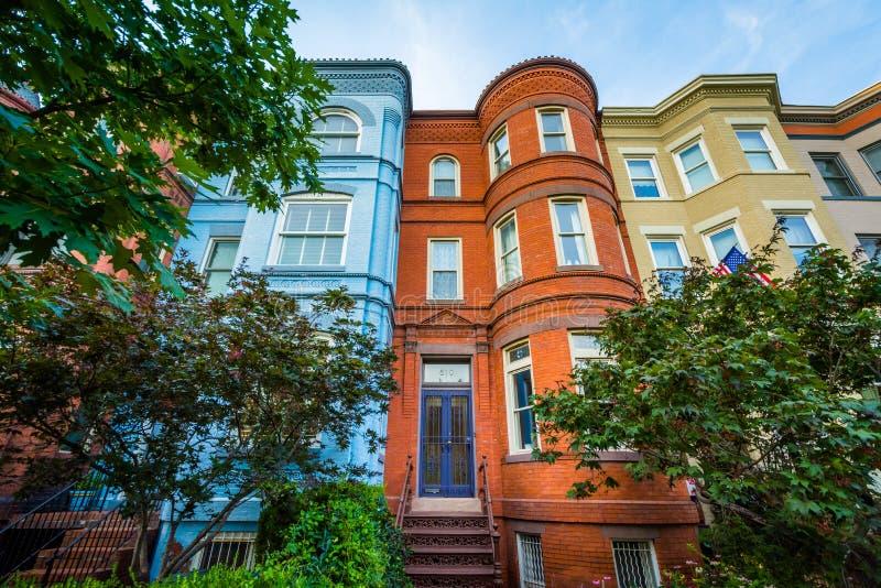 Rz?d?w domy przy Seward kwadratem w Wzg?rze Kapitolu, Waszyngton, DC fotografia stock