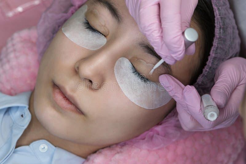 Rz?sy rozszerzenia procedura Kobiety oko z d?ugimi rz?sami obrazy stock