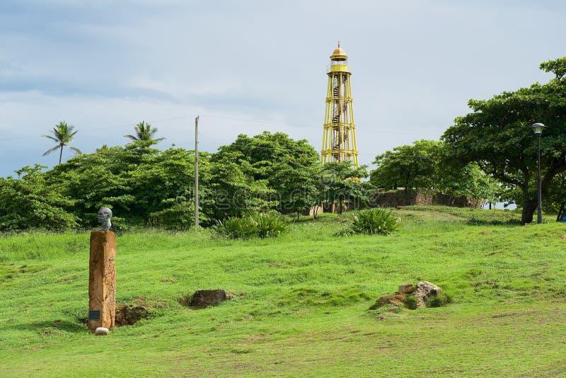 Rzadka obsady żelaza latarnia morska budował w 1879 obok San Felipe fortu w Puerto Plata, republika dominikańska obraz royalty free