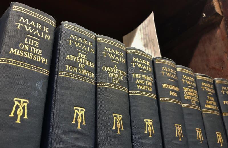 Rzadki Klasyczny Mark Twain literatury rocznik Rezerwuje Amerykańskiego pisarza obraz stock