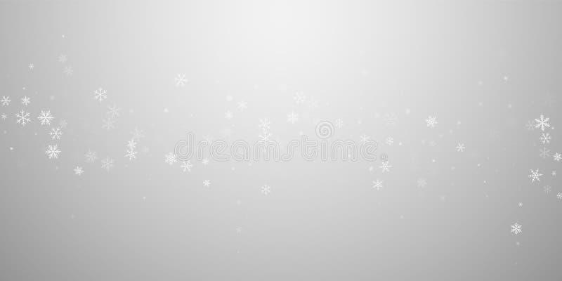 Rzadki opadów śniegu bożych narodzeń tło Subtelny flyin royalty ilustracja
