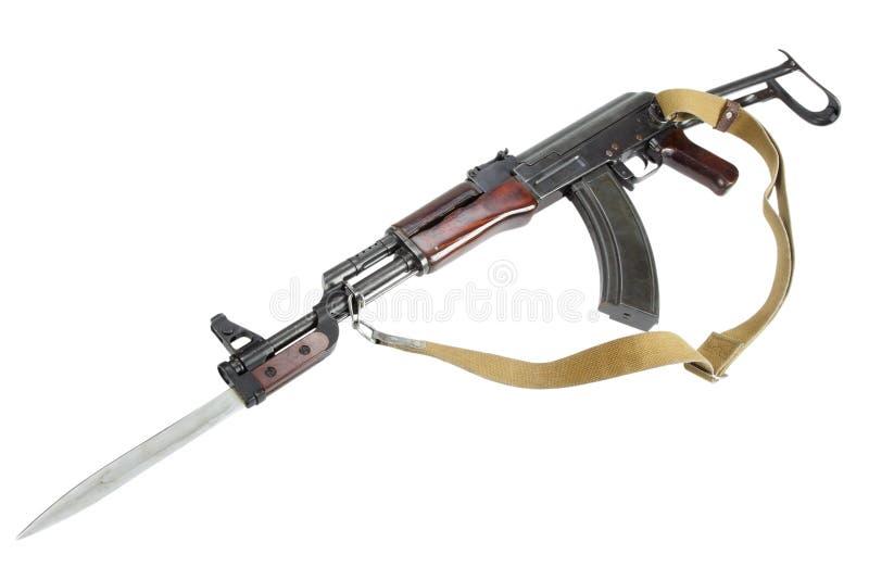 Rzadki pierwszy wzorcowy AK - 47 karabin szturmowy odizolowywający na bielu zdjęcie royalty free