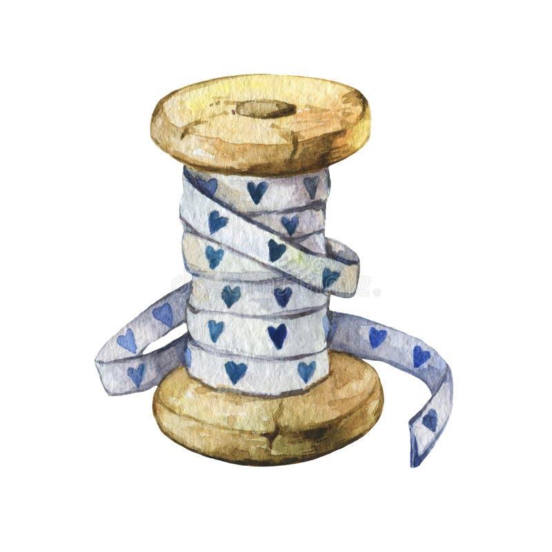 Rzadkiego rocznika bawełniana tasiemkowa cewa z błękitnymi sercami ilustracji