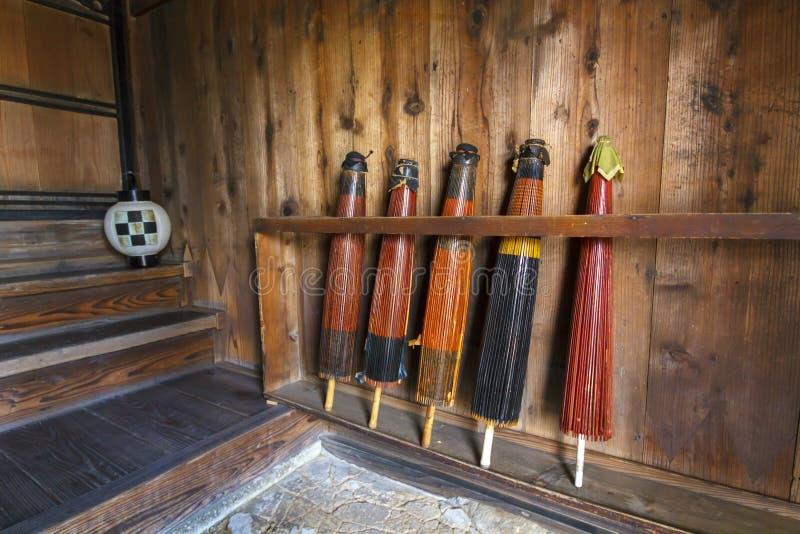 Rzadkiego rocznika Japońscy drewniani parasole fotografia royalty free
