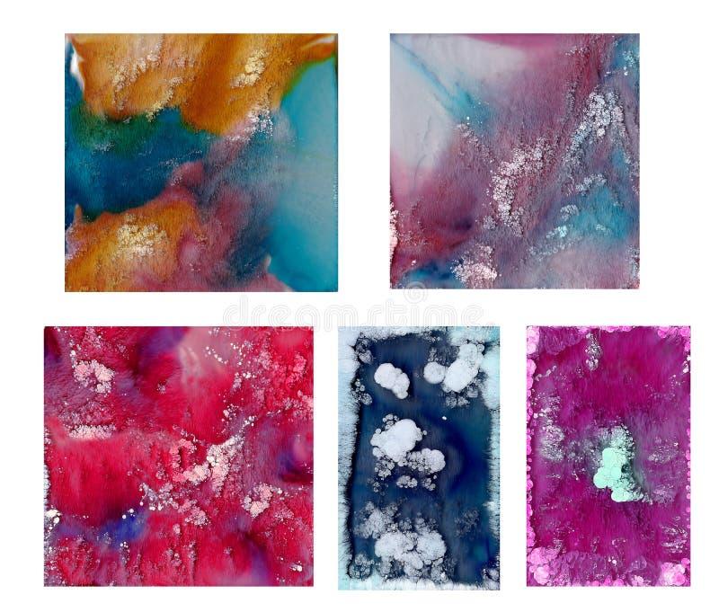 Rzadkopłynna sztuka w Petri naczyniu Kolorowi akrylowi, atrament, olej i akwarela marmur farby pluśnięcia, zdjęcia royalty free