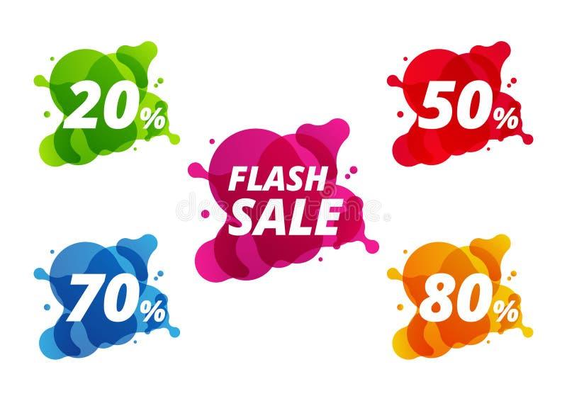 Rzadkopłynny pełny set kolorowy sprzedaż sztandar ilustracji