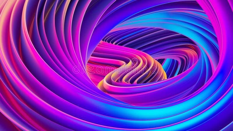 Rzadkopłynny projekt przekręcający kształta holograficzny 3D abstrakcjonistyczny tło iryzuje tapetę ilustracja wektor