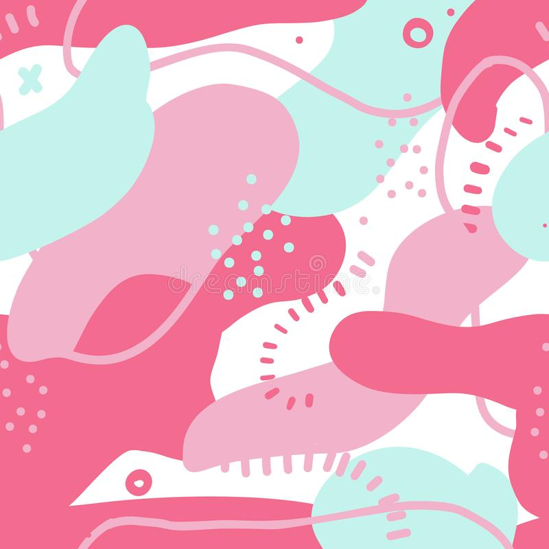 Rzadkopłynnych śmiałych kształtów bezszwowy wzór Abstrakcjonistyczny projekt z kolorowymi elementami Chaotyczne plamy w różowych  ilustracji