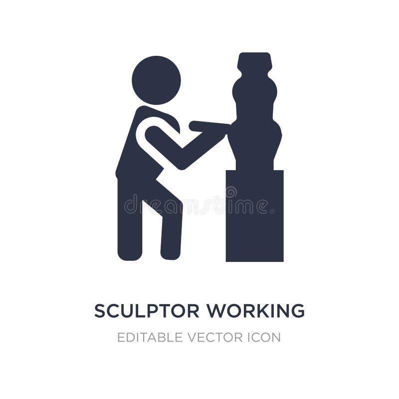 rzeźbiarz pracująca ikona na białym tle Prosta element ilustracja od ludzi pojęć ilustracja wektor