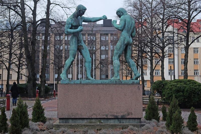 Rzeźba boksery w Helsinki zdjęcia royalty free