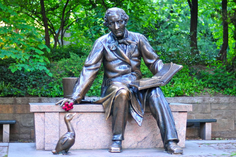 Rzeźba Hans Christian Andersen w central park obraz stock
