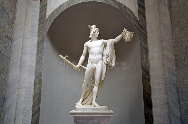 Rzeźba Perseus mienia głowa Gorgona meduza w Vatica zdjęcia stock