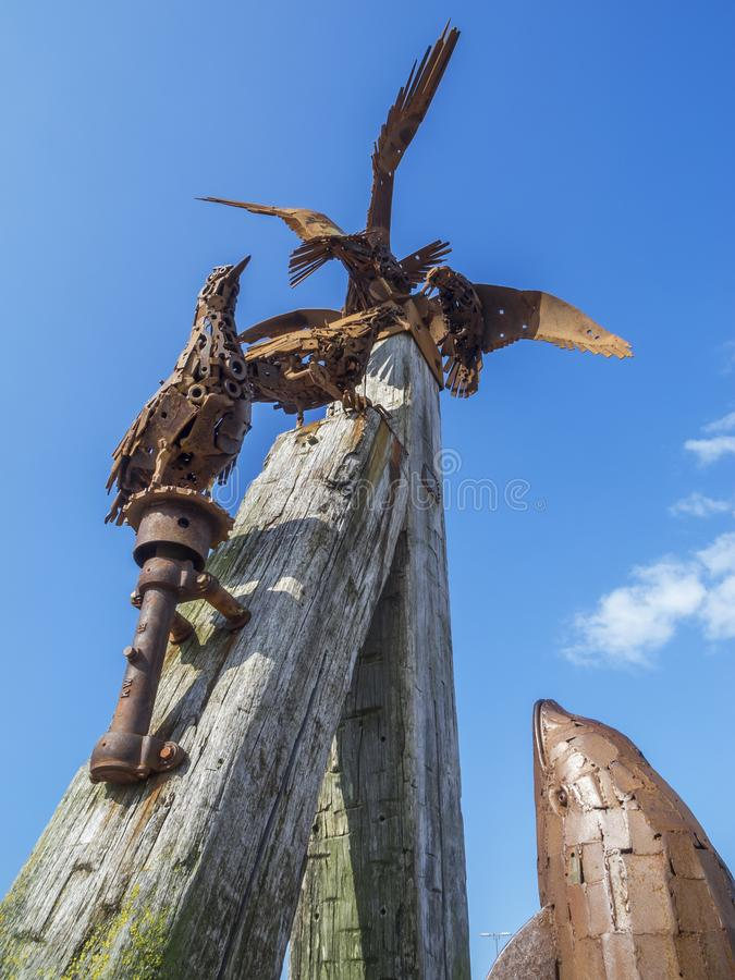 Rzeźba przy habour Harlingersiel zdjęcia royalty free