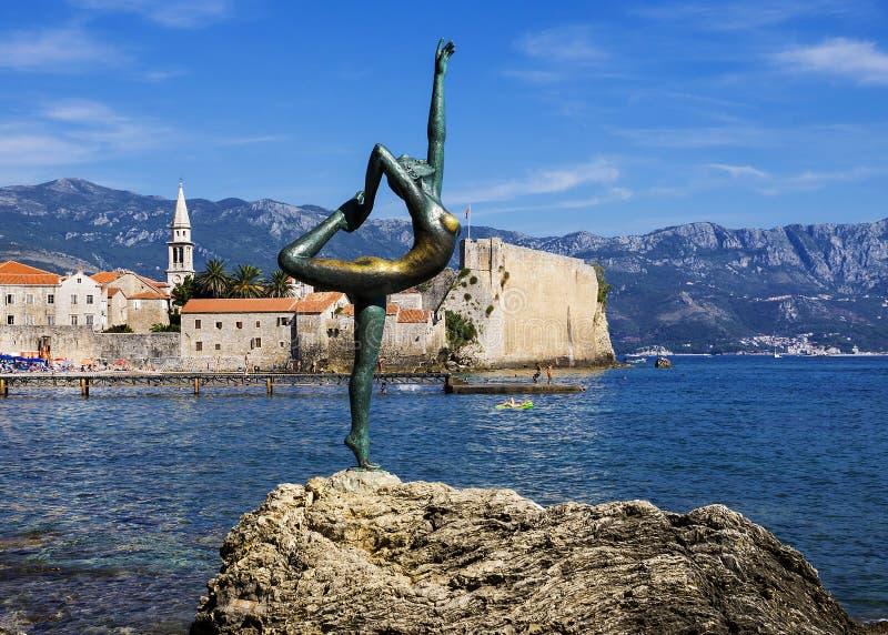Rzeźba tancerz, Budva, Montenegro zdjęcia stock