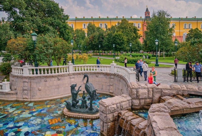Rzeźbeni składy na Manezhnaya obciosują blisko Kremlin, Moskwa, Rosja zdjęcie stock