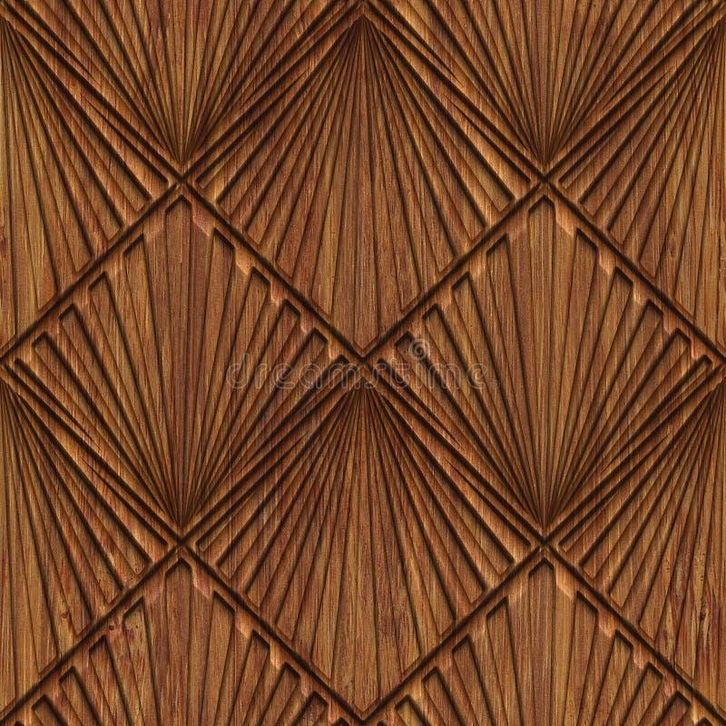 Rzeźbiąca drewniana bezszwowa tekstura ilustracja wektor