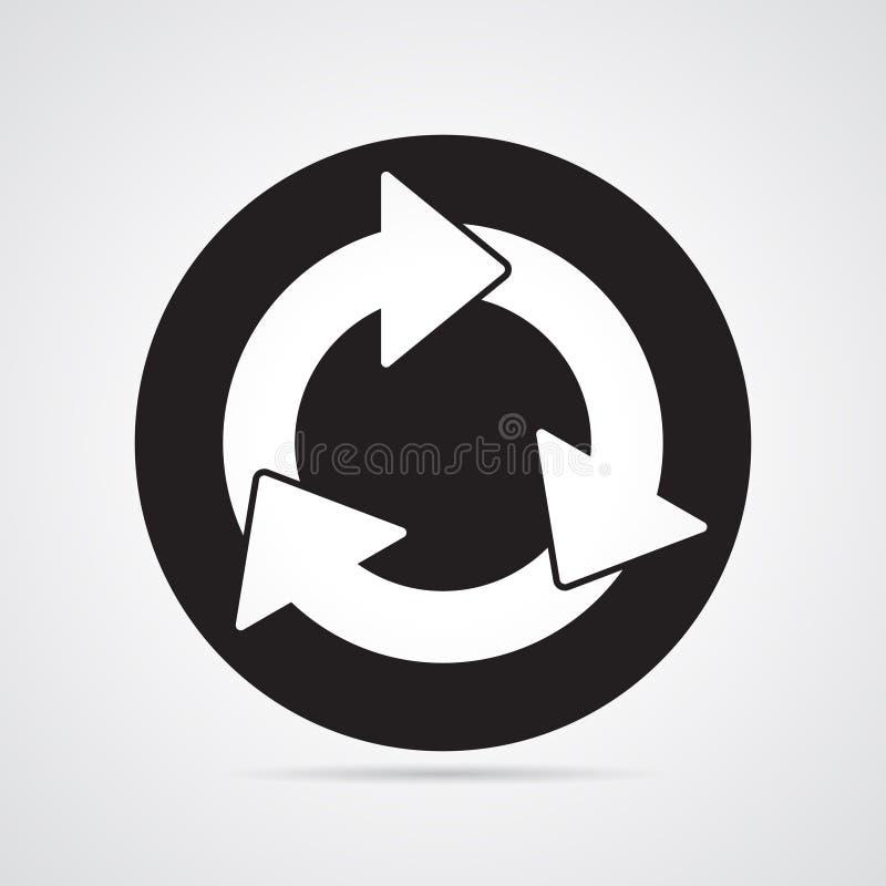 Rzeźbiąca sylwetki płaska ikona, prosty wektorowy projekt Owal z strzała dla ilustraci czas, cykl, royalty ilustracja