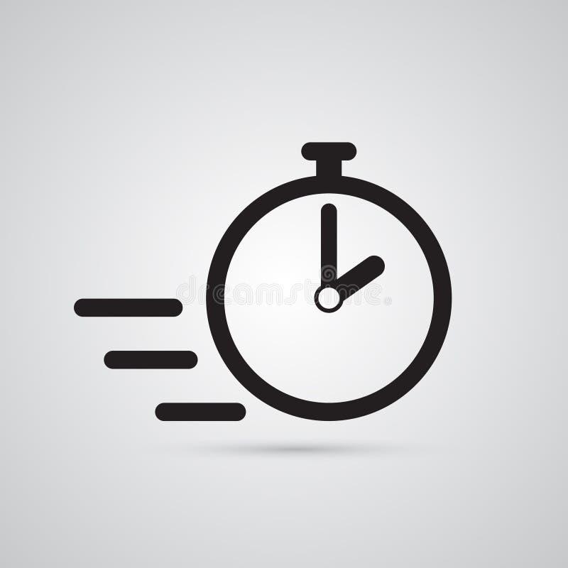 Rzeźbiąca sylwetki płaska ikona, prosty wektorowy projekt Stopwatch bolączka royalty ilustracja