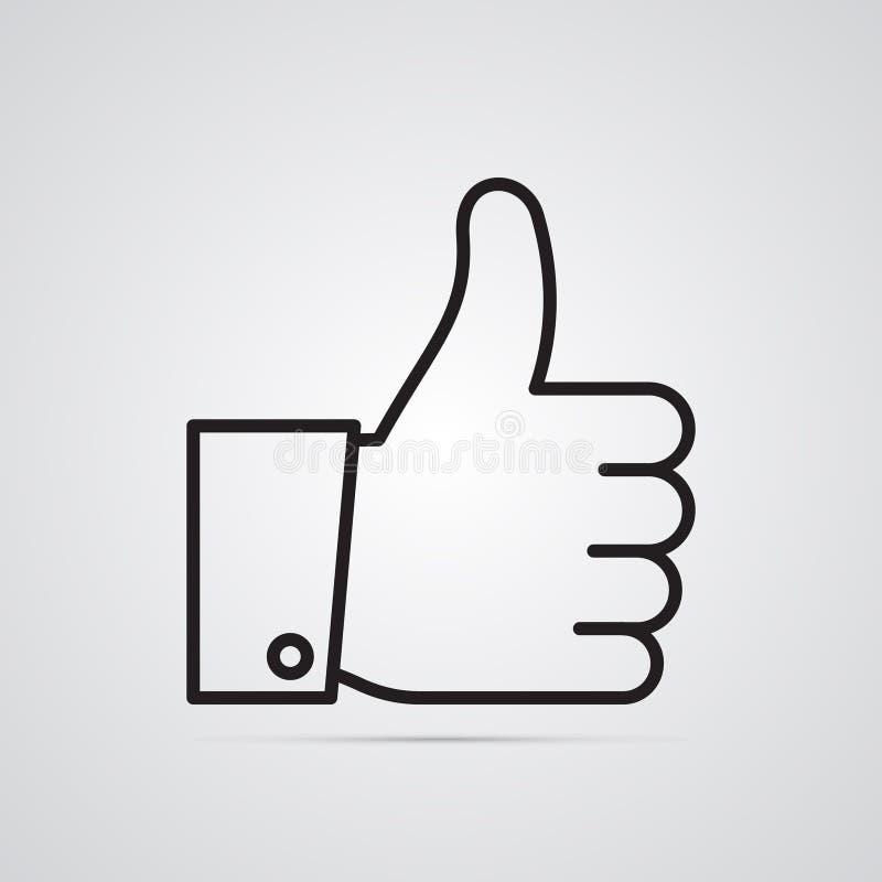 Rzeźbiąca sylwetki płaska ikona, prosty wektorowy projekt z cieniem Ręka z nastroszonym kciukiem ilustracji