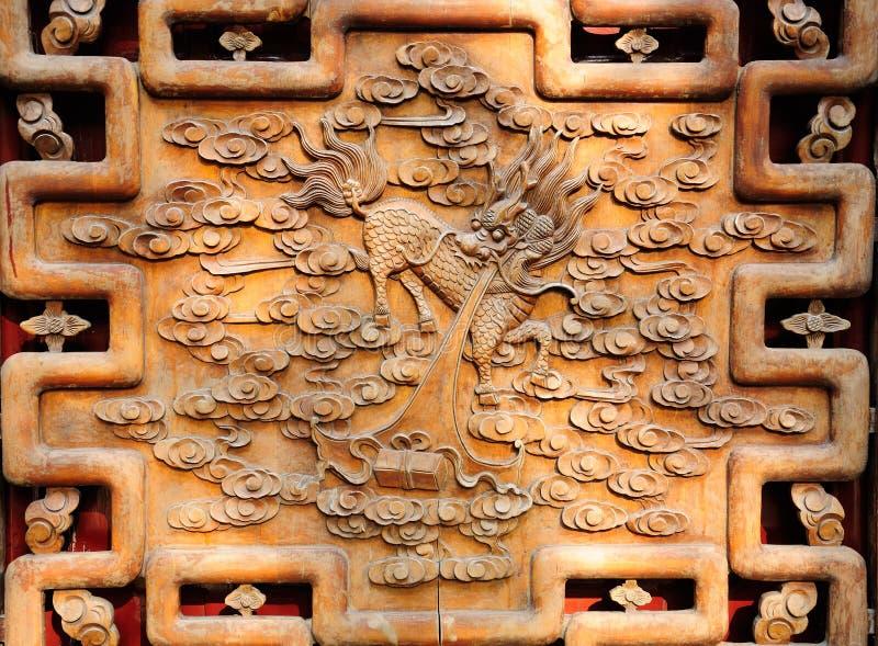 Rzeźbiący Drewniany chińczyka ekran fotografia royalty free