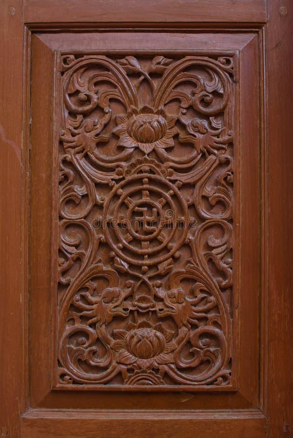 Rzeźbiący drewniany latticework z wzorem Chiness zdjęcia royalty free