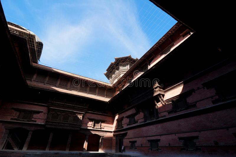 Rzeźbiący drewniany stary Royal Palace. Nepal fotografia royalty free