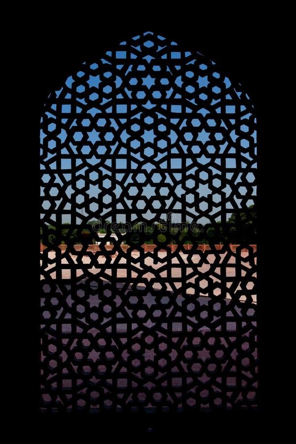 rzeźbiący humayun marmuru s parawanowy grobowcowy okno obraz stock