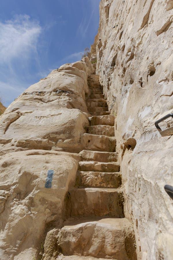 Rzeźbiący kamieni kroki w Ein Avdat jarze w wadim Zin obrazy stock
