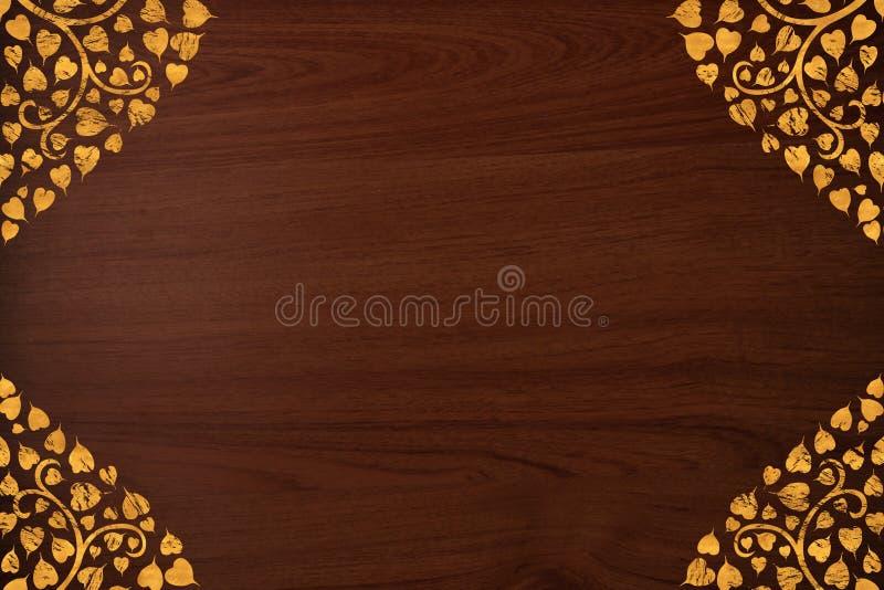 rzeźbi złota wzoru tekstury tajlandzkiego drewno zdjęcia royalty free