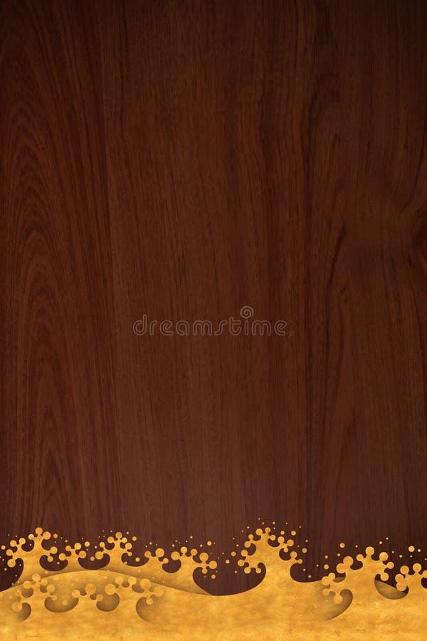 rzeźbi złota wzoru tekstury tajlandzkiego falowego drewno fotografia stock