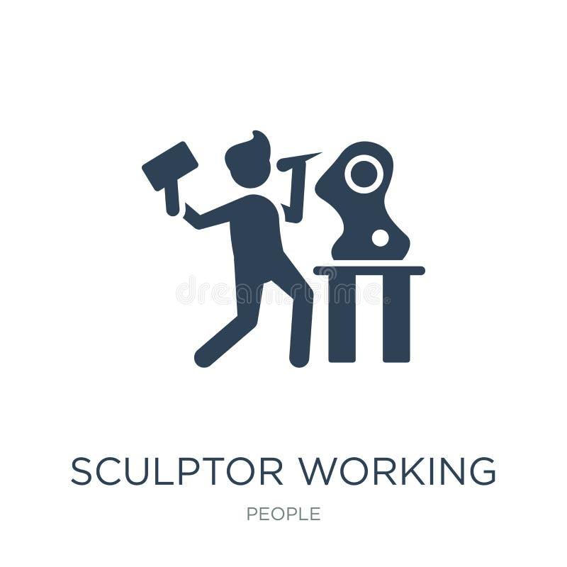 rzeźbiarz pracująca ikona w modnym projekta stylu rzeźbiarz pracująca ikona odizolowywająca na białym tle rzeźbiarz pracująca wek ilustracji