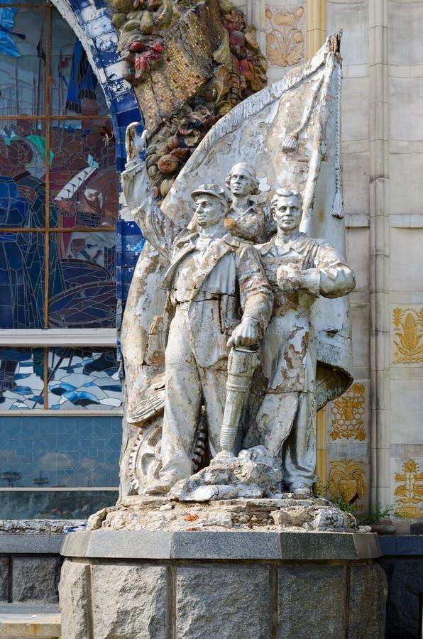 Rzeźbiony grupowy skład Stakhanovists przemysł, Exhibiti zdjęcia stock