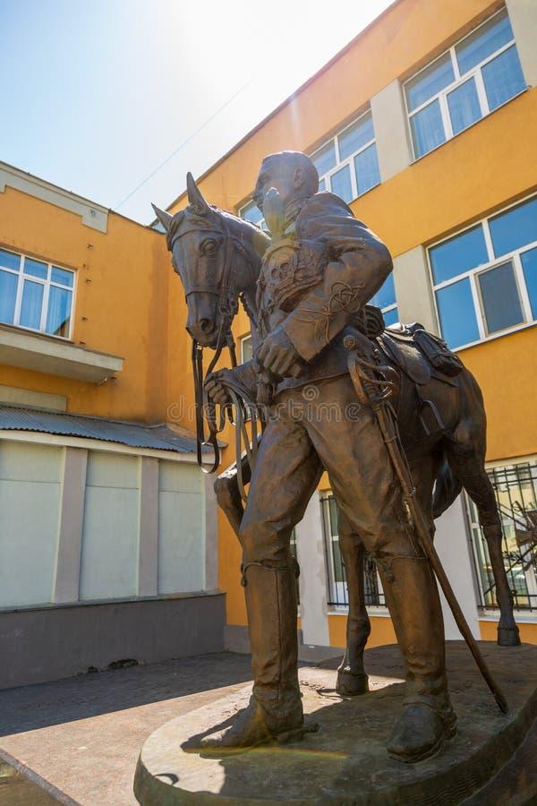 Rzeźbiony skład dedykujący pamięć husary i oficery 5th Aleksandria pułk, czarni hussars obraz royalty free