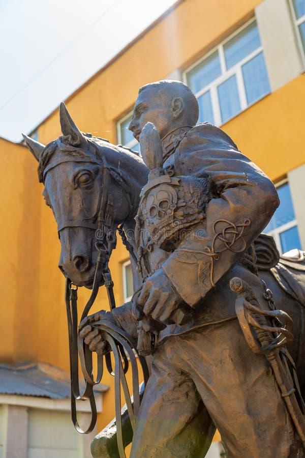 Rzeźbiony skład dedykujący pamięć husary i oficery 5th Aleksandria pułk, czarni hussars fotografia royalty free