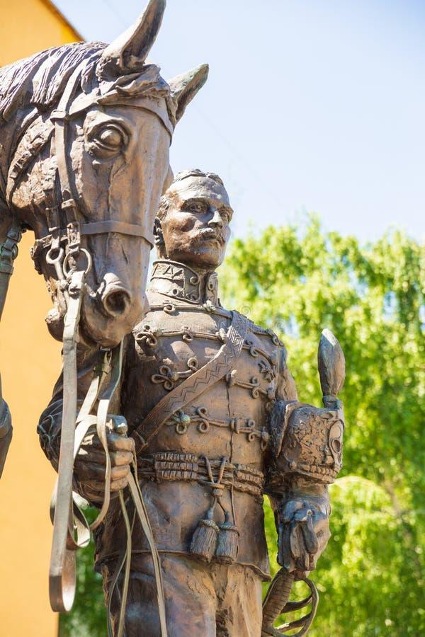 Rzeźbiony skład dedykujący pamięć husary i oficery 5th Aleksandria pułk, czarni hussars obrazy royalty free