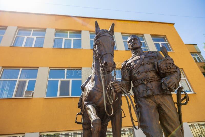 Rzeźbiony skład dedykujący pamięć husary i oficery 5th Aleksandria pułk, czarni hussars zdjęcia royalty free