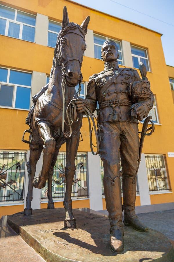 Rzeźbiony skład dedykujący pamięć husary i oficery 5th Aleksandria pułk, czarni hussars zdjęcie royalty free