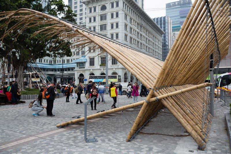 Rzeźbiony składu bambus w Kowloon w Hong Kong fotografia royalty free