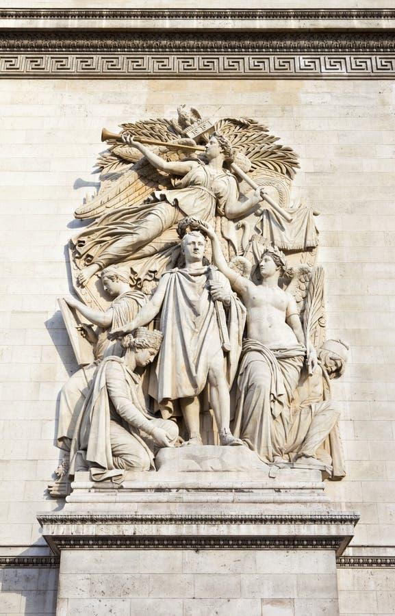 Rzeźbiony szczegół na łuku De Triomphe w Paryż zdjęcie stock