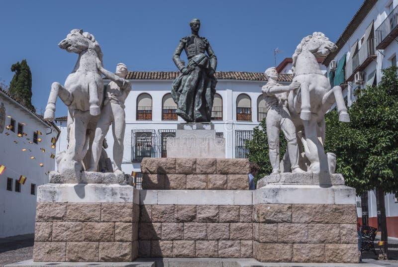 Rzeźbiony zespół dedykujący bullfighter Manolete, nazwany ` Manuel Rodriguez `, cordoba, Hiszpania obraz royalty free