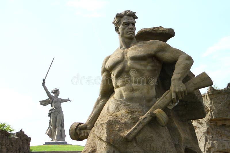 Rzeźby na Mamaev Kurgan w Rosja, WWII dziejowy pomnik zdjęcie royalty free
