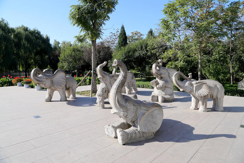 Rzeźby słonie, w Pekin zoo, Pekin, Chiny zdjęcie stock