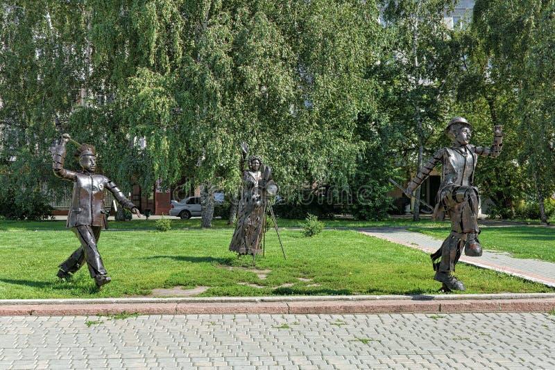 Rzeźby uwaga, Filmuje! w Barnaul, Rosja fotografia stock