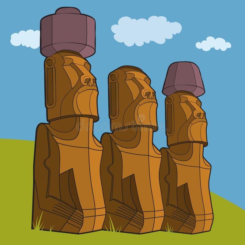 Rzeźby Wielkanocna wyspa Rapa Nui ilustracja wektor