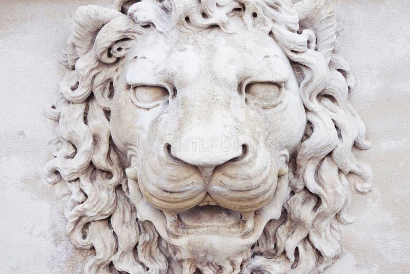 Rze?ba ?redniowieczna lew g?owa kamienny W?ochy - czo?owy widok zdjęcia stock