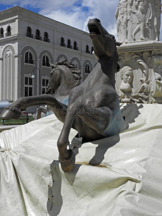 Rze?by konie w Skopje, N Macedonia obrazy stock